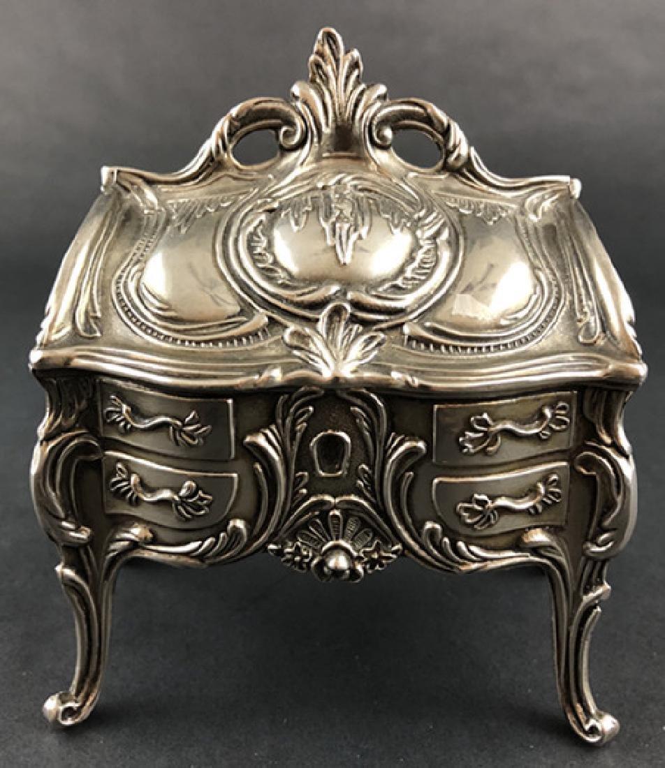 19th Century European sterling silver jewelry box