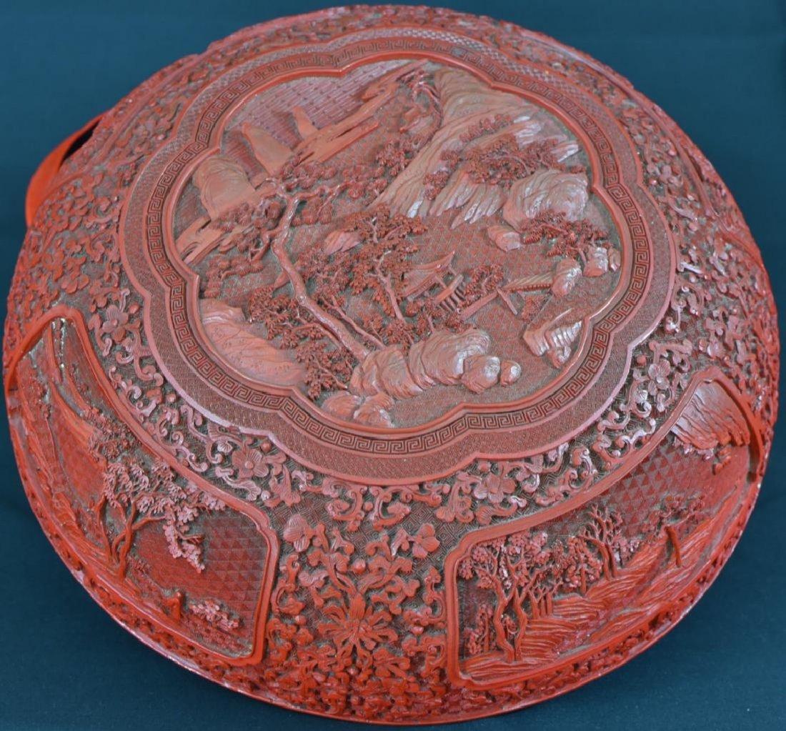 Fine 18 Century Chinese Cinnabar Lacquer Round Box