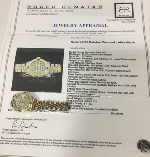 Rolex YG / ss DateJust Diamond Ladies Watch - 10