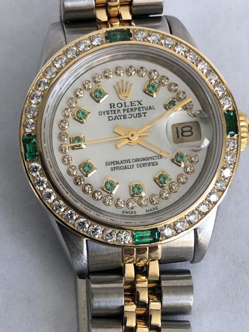 Rolex YG / ss DateJust Diamond Ladies Watch