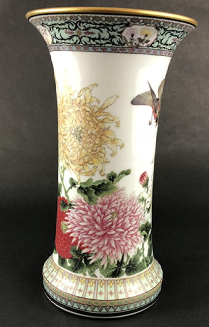 Asian porcelain chrysanthemums and tits