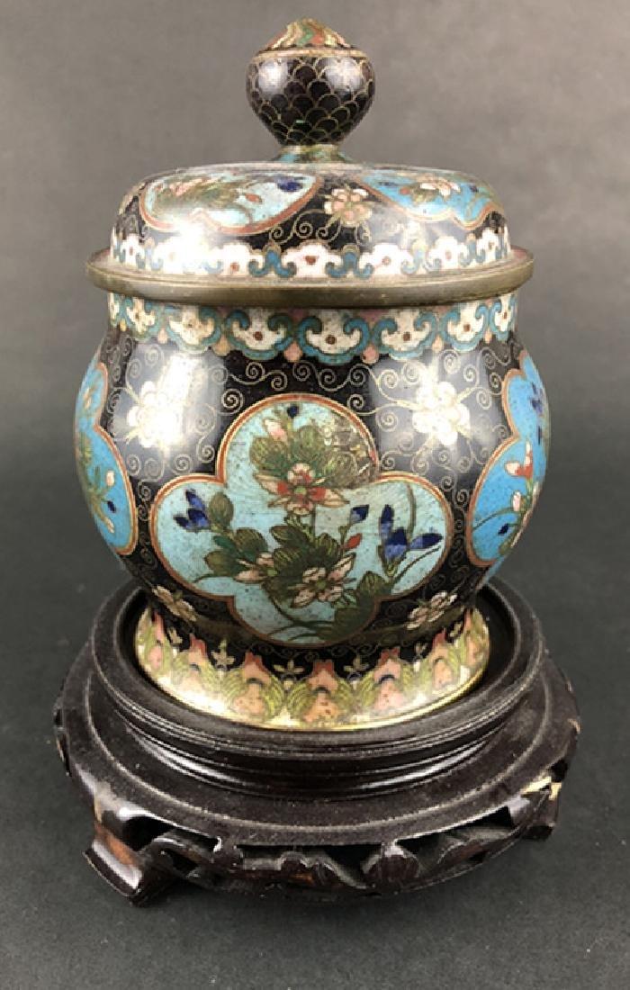 Cloisonne enamel floral pattern covered jar