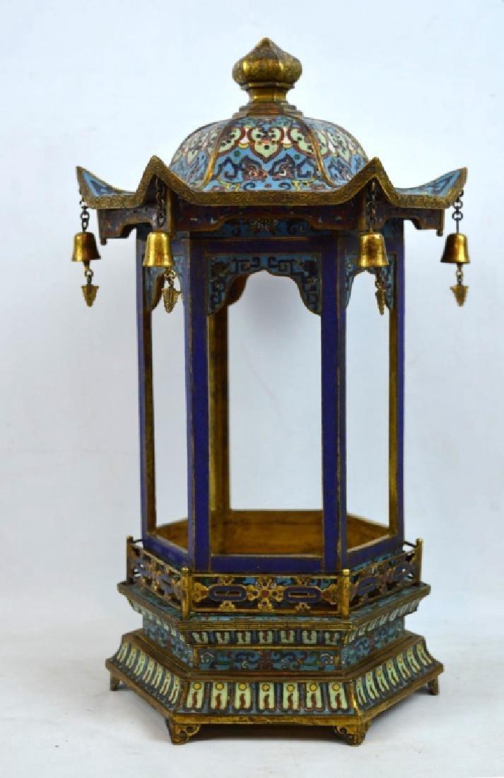 Rare Qing Chinese Gilt Bronze & cloisonne Pagoda