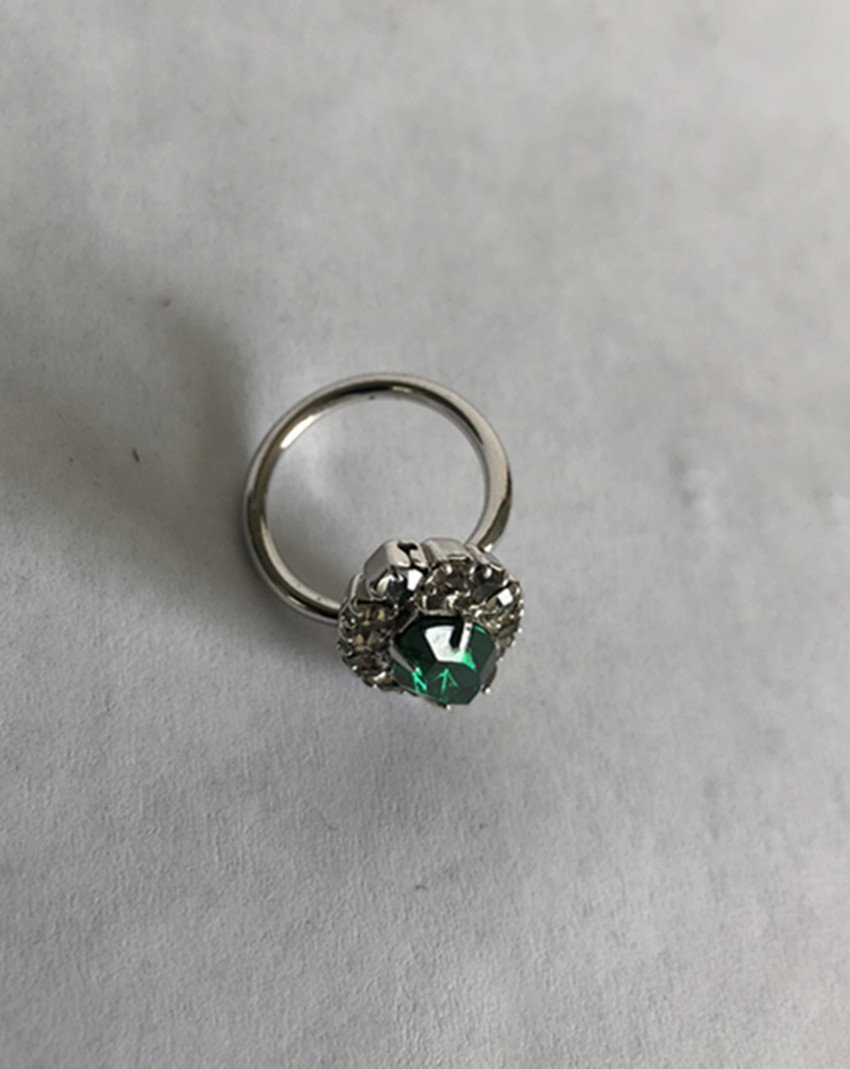 Emerald and diamond white gold ring - 8