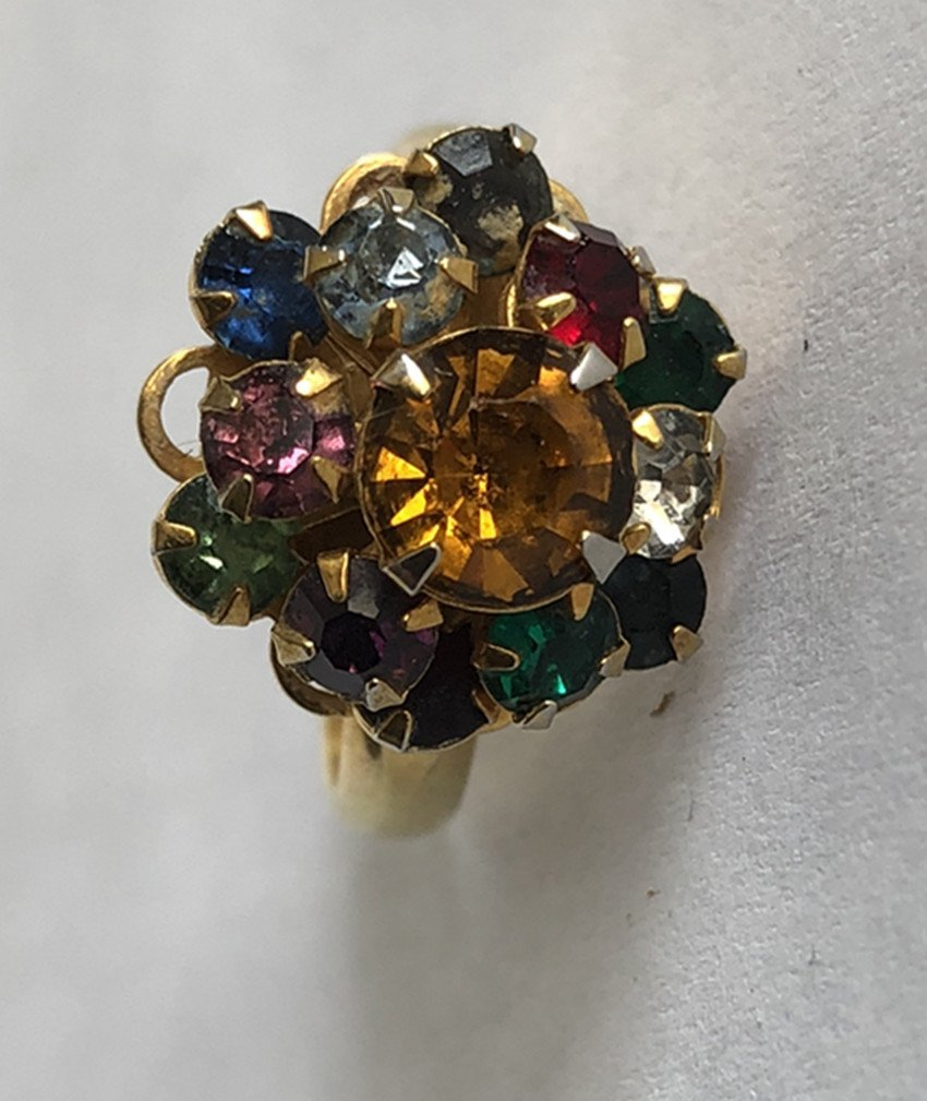 Gem & Crystal and 14k yellow gold ring