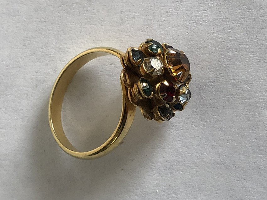 Gem & Crystal and 14k yellow gold ring - 5
