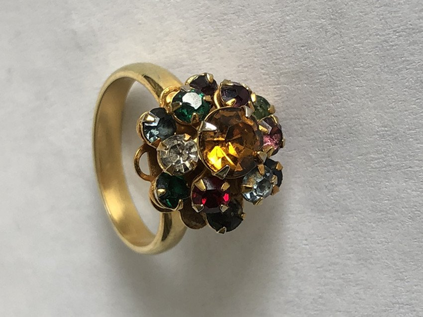 Gem & Crystal and 14k yellow gold ring - 7
