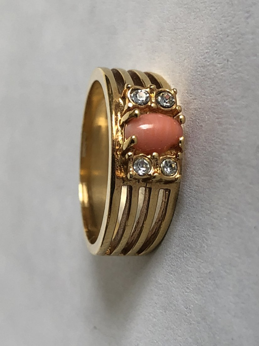Red Coral & Diamonds and 18k Yellow Gold Ring