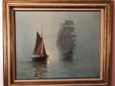 Nautical Clipper Ship Framed Painting On Canvas