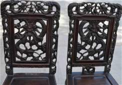 Qing Dynasty ZI TAN carved dining chair,Two