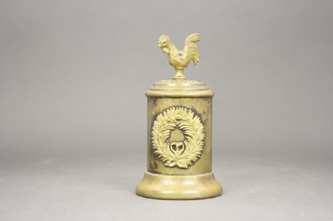 Cylindrical Bank with Rooster Finial