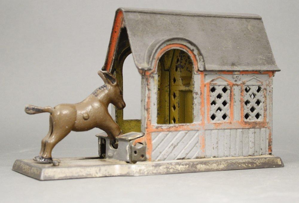 Mule Entering Barn Mechanical Bank