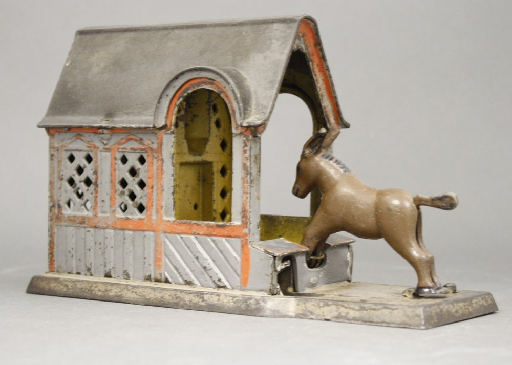 Mule Entering Barn Mechanical Bank - 2