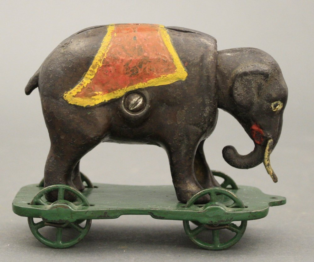 Elephant with Tusks on Wheels Mechanical Bank - 2