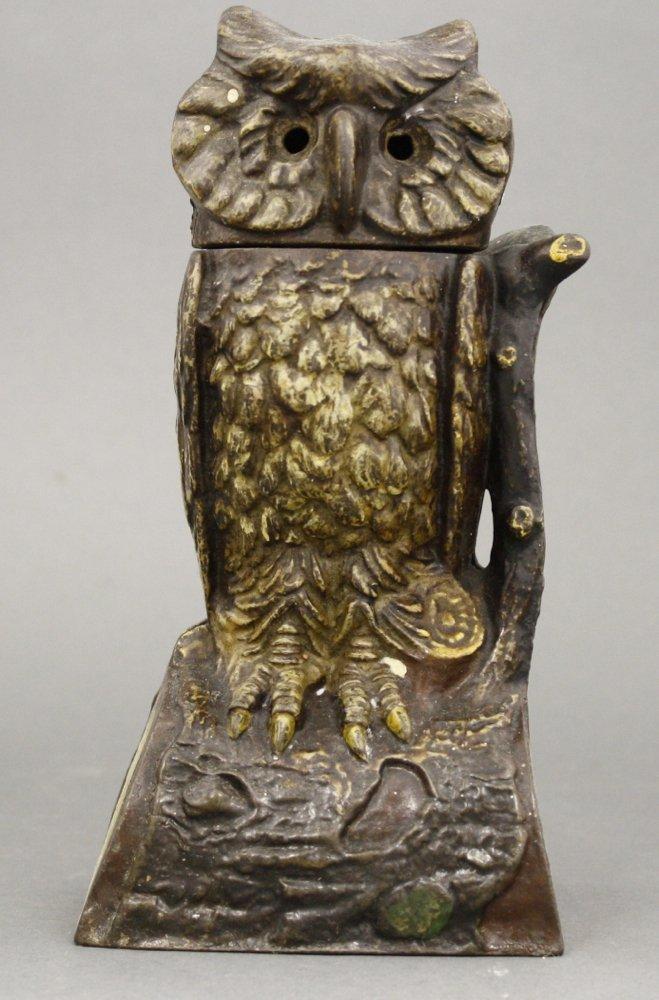 Owl Turns Head Mechanical Bank