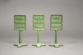 Lot: Three Men Working Signs