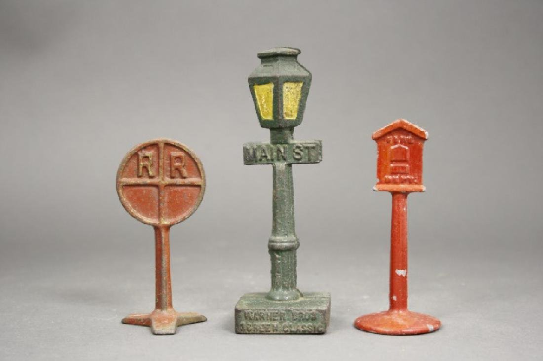 Lot: Railroad Sign, Fire Alarm Box & Lamp Post