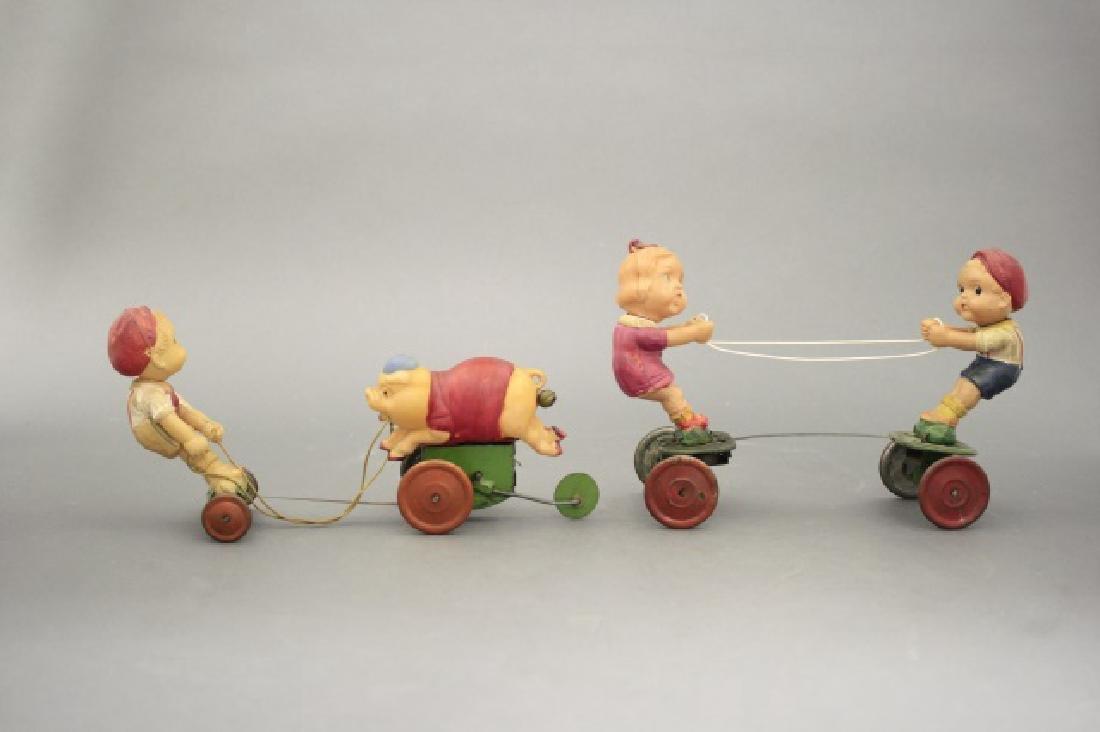 Lot: Boy Chasing Pig, Boy & Girl Tug of War - 2