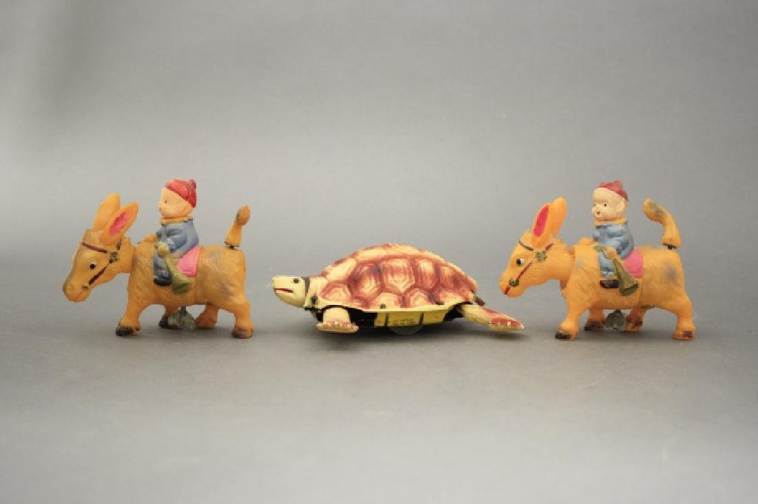 Lot: Two Donkeys with Rider, One Turtle