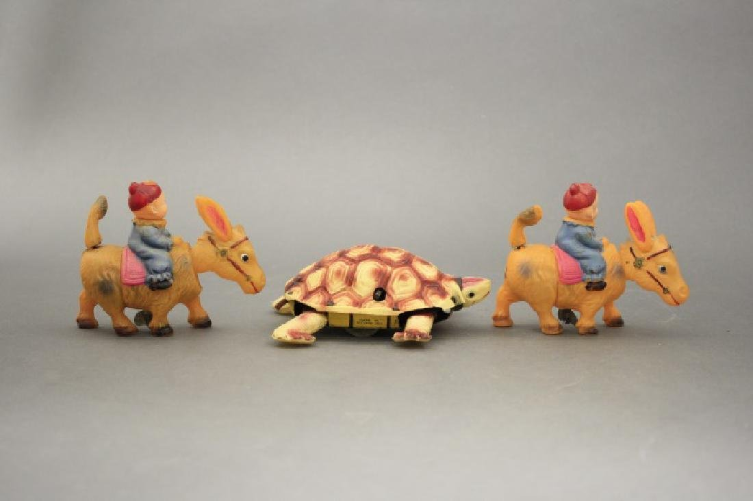 Lot: Two Donkeys with Rider, One Turtle - 2