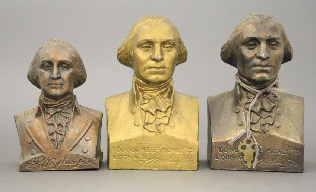 Lot: Three George Washington Busts