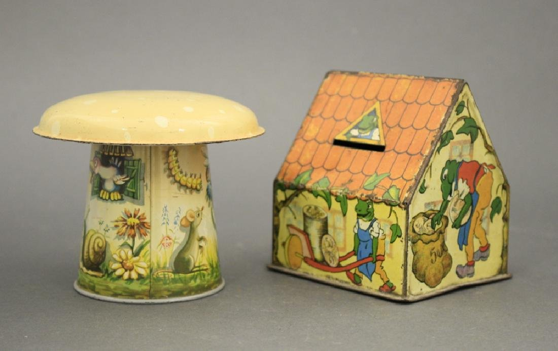 Lot: Mushroom House and Frog Cabin Banks - 2