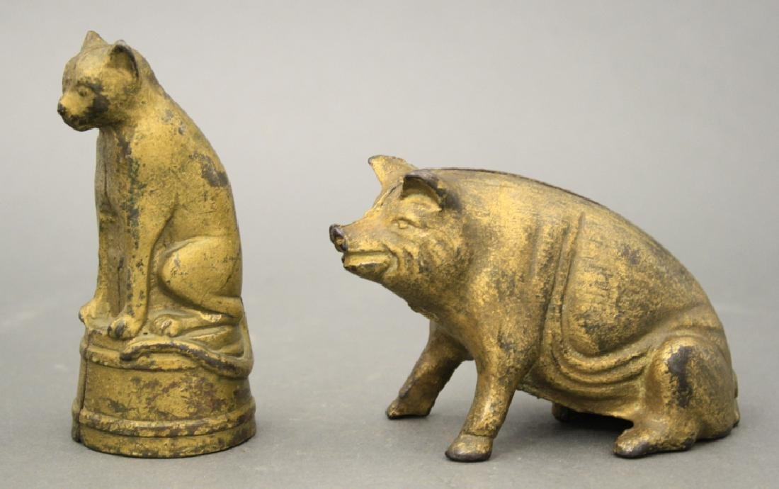 Lot: Cat on Tub and Seated Pig Bank
