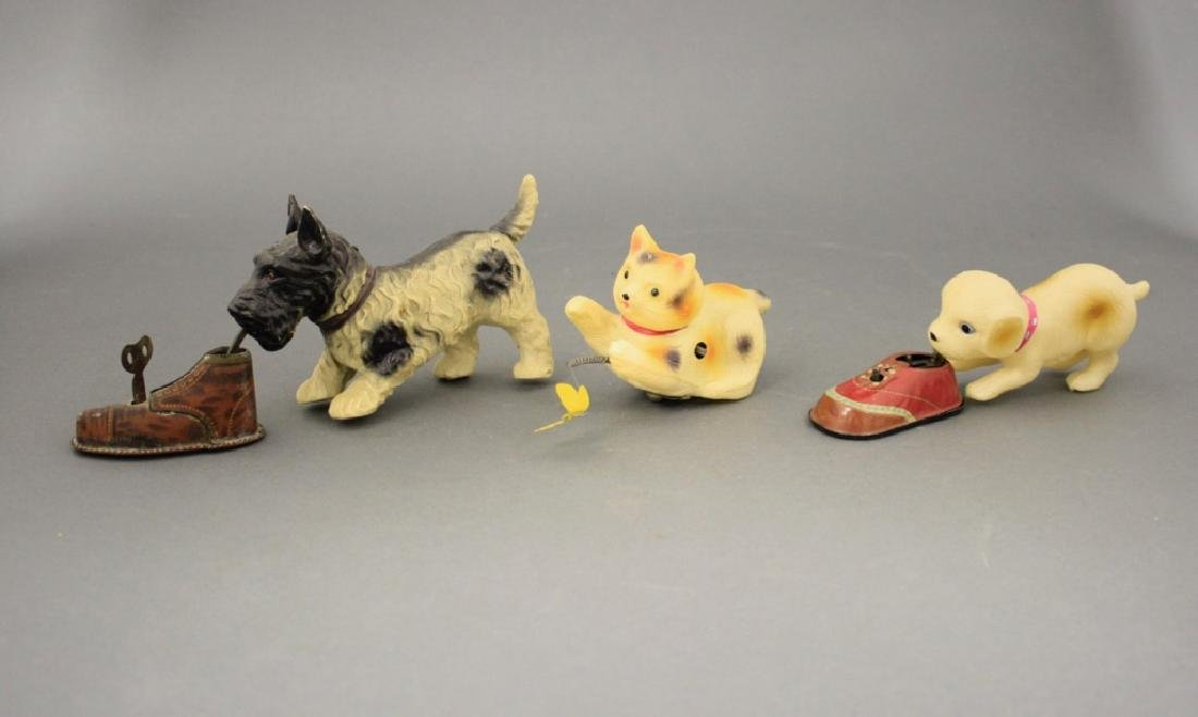 Lot: Two Dogs with Shoe & Cat w/ Butterfly - 2