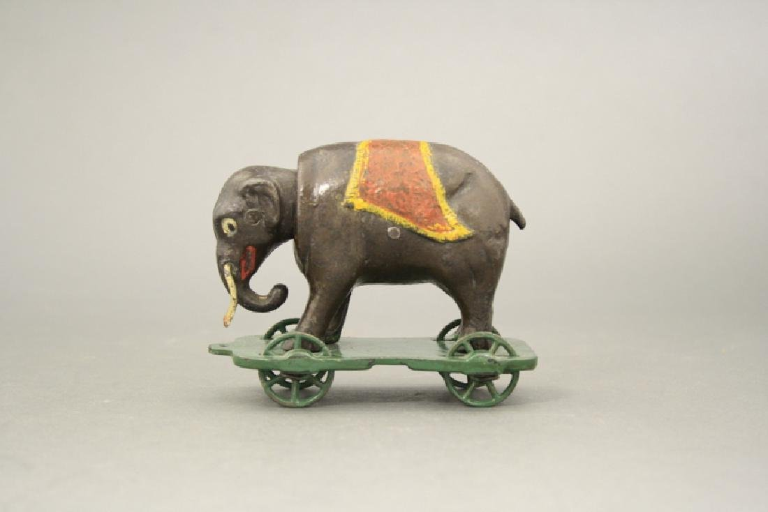 Elephant with Tusks on Wheels Bank
