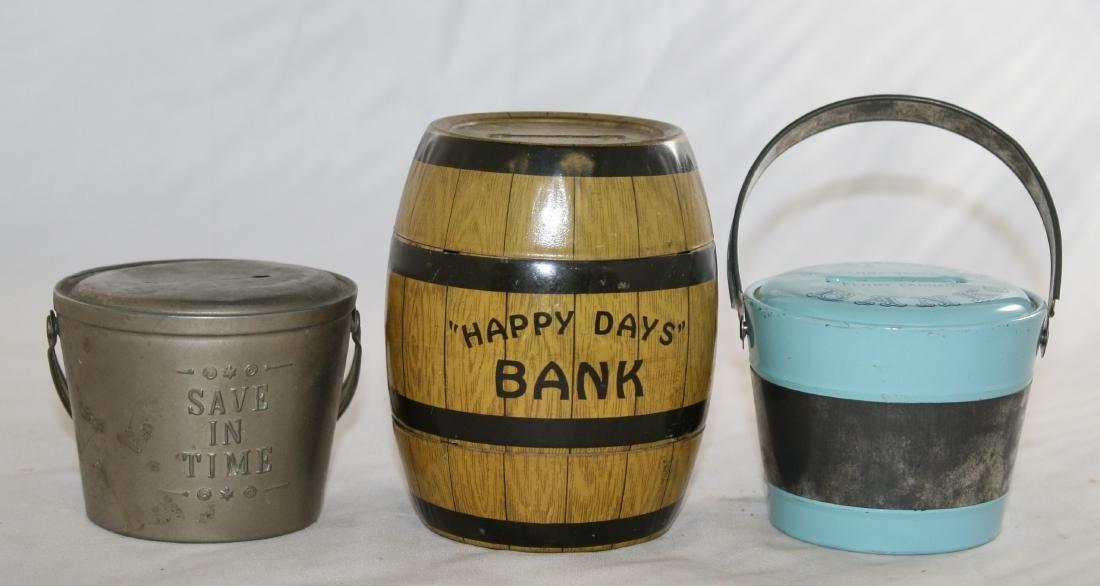 Three Still Banks Including Happy Days