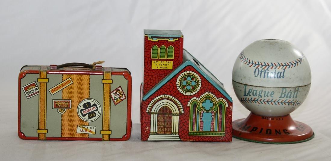3 Tin Litho Still Banks: Suitcase, Home & Baseball