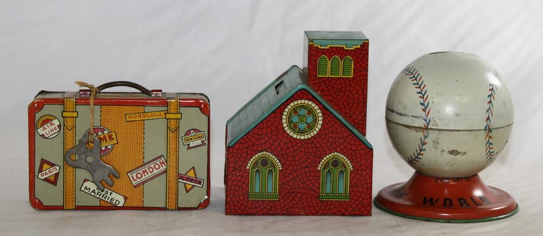 3 Tin Litho Still Banks: Suitcase, Home & Baseball - 2