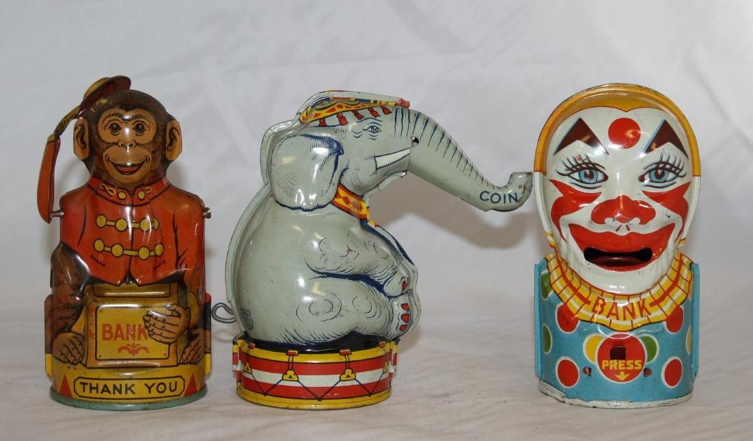 3 Chein Mechanical Banks: Monkey, Elephant