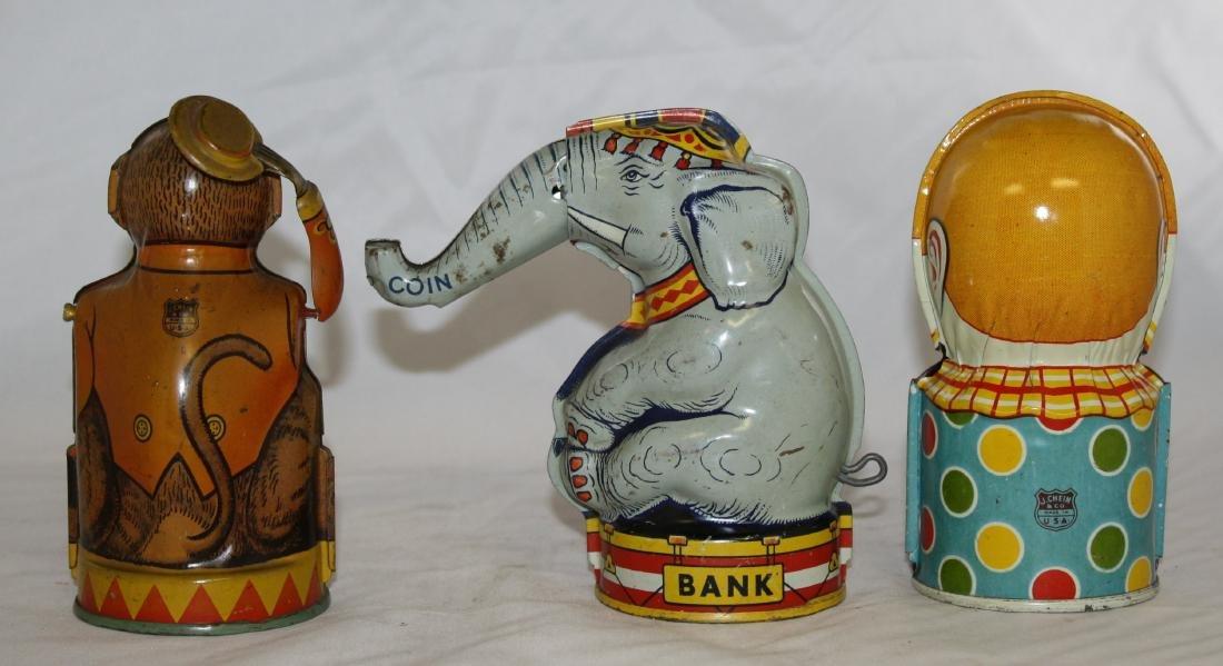 3 Chein Mechanical Banks: Monkey, Elephant - 2