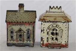 Two Cast Iron Building Banks
