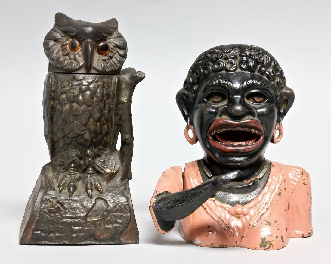 Cast Iron Owl Turns Head & Dinah Banks
