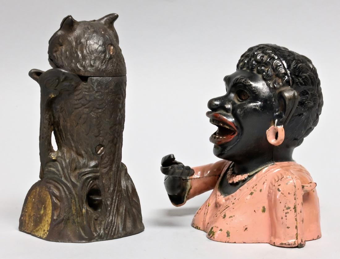 Cast Iron Owl Turns Head & Dinah Banks - 3