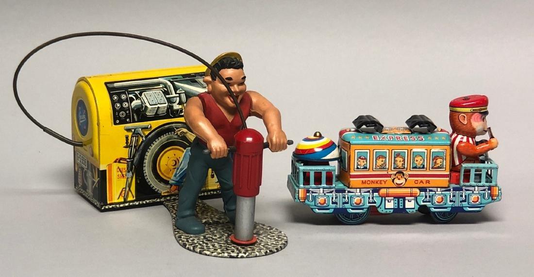 Gescha Jack Hammer & Monkey Car Express Tin Toys