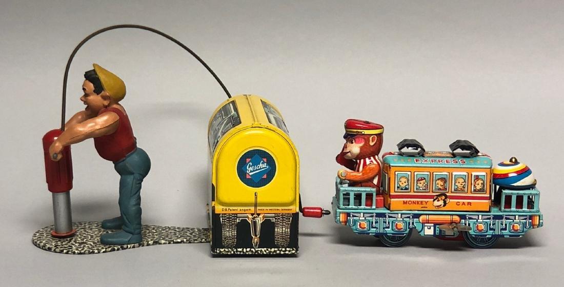 Gescha Jack Hammer & Monkey Car Express Tin Toys - 2