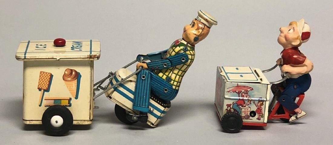 Two Bicycle Ice Cream Vendor Tin Toys