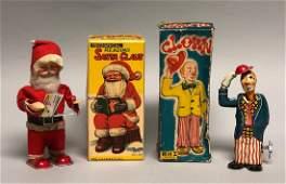 Windup Reading Santa and Clown