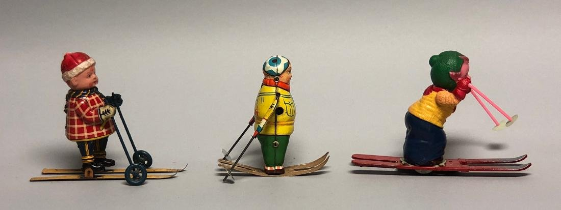 Three Windup Tin and Celluloid Skier Toys - 2