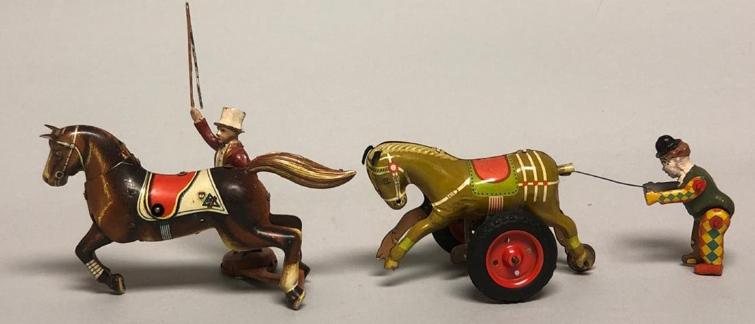 Two Tin Windup Horse Trainer Toys - 2