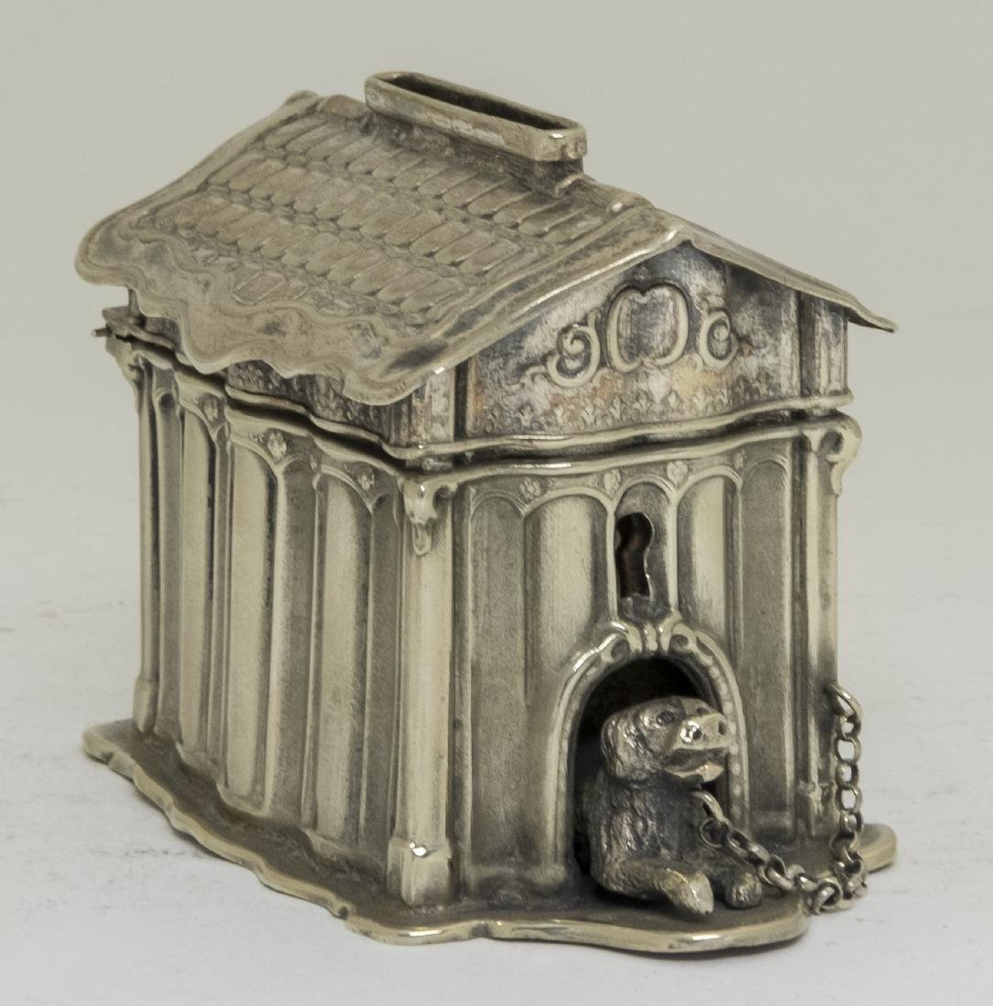 Silvered Tin Dog House Still Bank