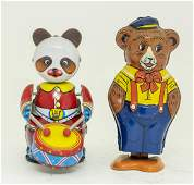 Two Windup Bear Tin Toys