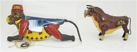 Marx Zippo & Ferdinand the Bull Tin Toys