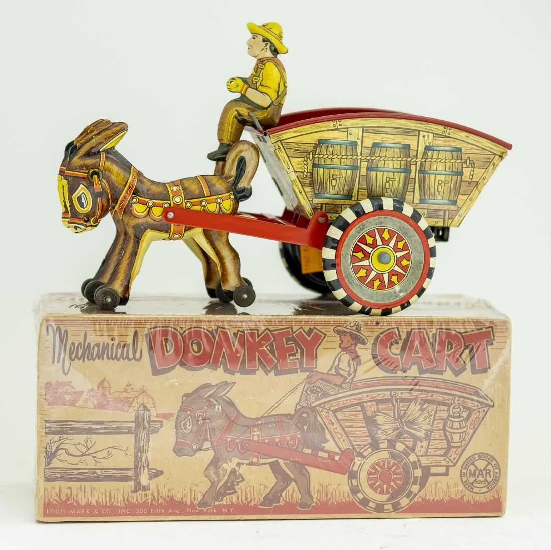 Boxed Marx Mechanical Donkey Cart Windup Toy