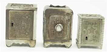 Three Cast Iron Safe Banks
