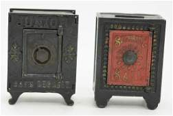 Two Cast Iron Safe Banks