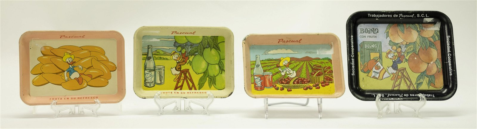 Four Donald Duck Trays, Pascual, Boing